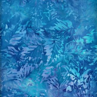 Tissu batik feuilles d'arbre bleues