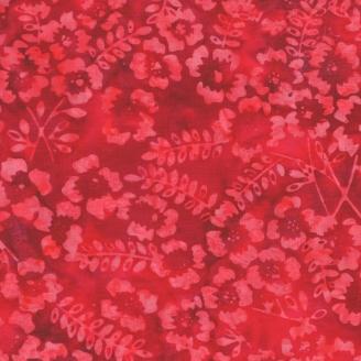 Tissu batik fleurs des champs rouges
