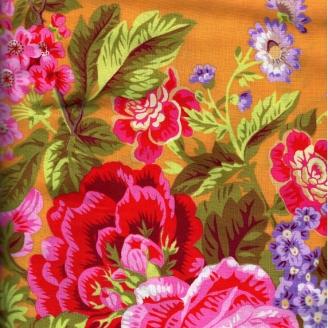 Tissu patchwork Bouquet floral rose fond jaune