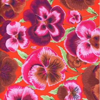 Tissu patchwork Pensée marron,rose sur fond orange