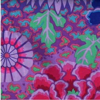 Tissu patchwork Kaffe Fassett Grandes fleurs multicolore fond pourpre