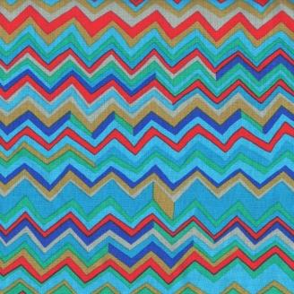 Tissu patchwork Motif zig zag bleu rouge