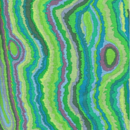 Tissu patchwork JUPITER, coloris verts, mauve, rose.