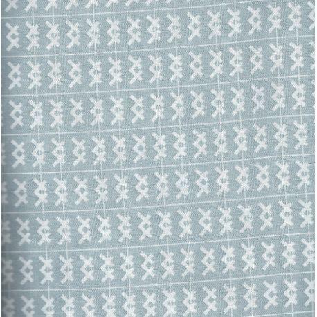 Tissu patchwork Double croix blanc fond gris