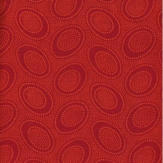 Tissu patchwork Oval aborigène brique