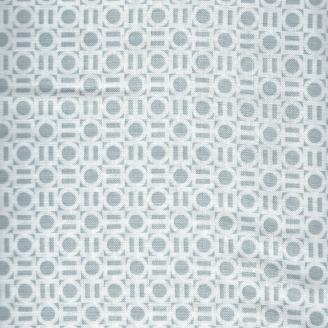 Tissu patchwork Petit motifs géometrique blanc fond gris