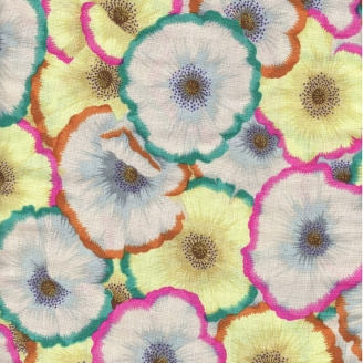 Tissu patchwork Coquelicots jaune clair