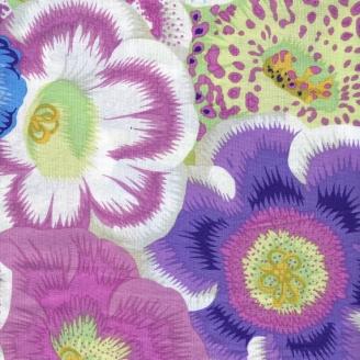 Tissu patchwork fleurs Gloxinias rose mauve