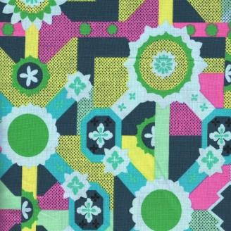 Tissu patchwork Cercles fleurs vert jaune