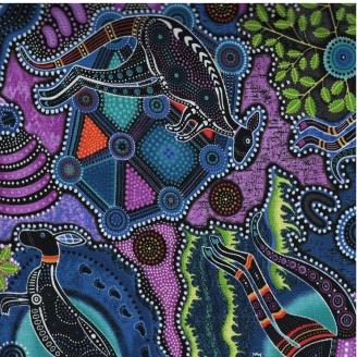 Tissu patchwork Motif Kangourou couleur rose