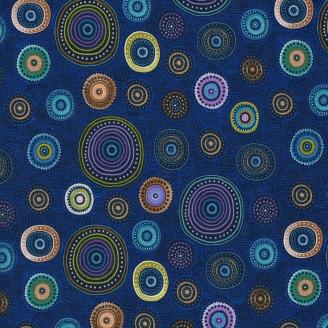 Tissu patchwork Cercle à motif divers fond bleu foncé