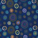 Tissu patchwork aborigène Cercle à motif divers fond bleu foncé