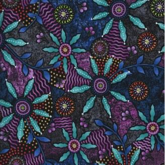 Tissu patchworkFleurs turqoise fond violet
