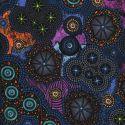 Tissu patchwork aborigène Constellation tribale bleue et violette