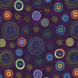 Tissu patchwork Cercle imprimée multicolore fond fuchsia foncé