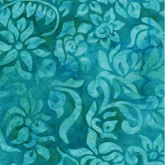 Tissu batik fleurs fantaisie bleu caraïbes