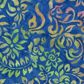 Tissu batik fleurs fantaisie jaune/vert fond bleu