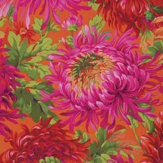 Tissu Philip Jacobs - Grandes fleurs Shaggy fond orange