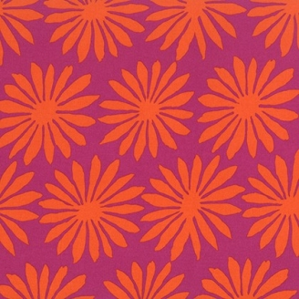 Tissu patchwork Kaffe Fassett - Grandes fleurs oranges fond fuchsia - Artisan