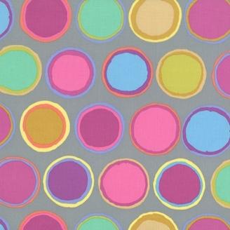 Tissu patchwork Kaffe Fassett - Pots de peintures pastel fond gris - Artisan