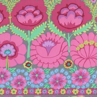 Tissu patchwork Kaffe Fassett - grandes fleurs roses en bordures fond gris - Artisan