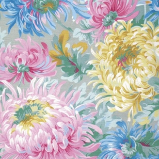 Tissu Philip Jacobs - Grandes fleurs Shaggy fond gris