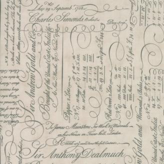 Tissu patchwork écritures fond écru - Quill de 3 Sisters