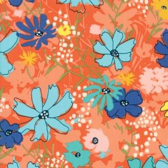 Tissu patchwork fleurs bleues fond vermillon - Wild Nectar de Moda