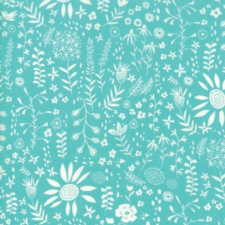 Tissu patchwork fleurs et colibri fond turquoise - Wild Nectar de Moda