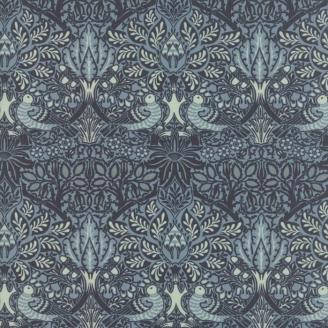 Tissu patchwork oiseaux et fleurs bleu gris - reproduction de William Morris