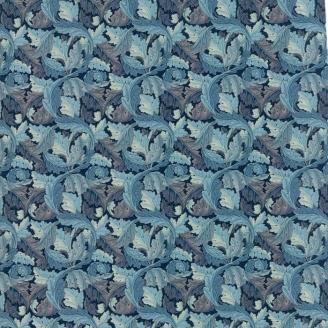 Tissu patchwork feuilles bleues - reproduction de William Morris