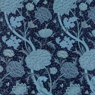 Tissu patchwork grandes fleurs bleues - reproduction de William Morris