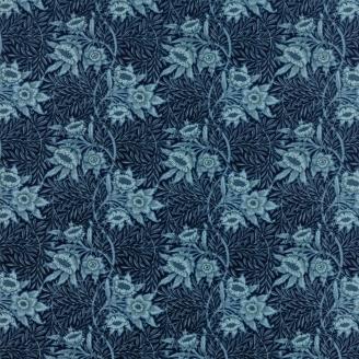 Tissu patchwork fleurs bleu ciel fond bleu nuit - reproduction de William Morris