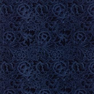 Tissu patchwork fleurs bleu nuit ton sur ton - reproduction de William Morris