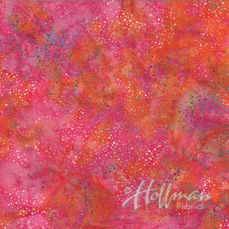Tissu batik dahlia rose pétillant
