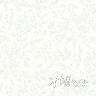 Tissu batik branches grises fond blanc cassé
