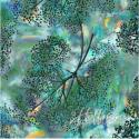 Tissu batik pissenlits fond turquoise
