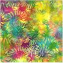 Tissu batik tournesols multicolores