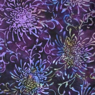 Tissu batik dahlias violets