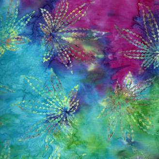 Tissu batik chanvre fond arc-en-ciel