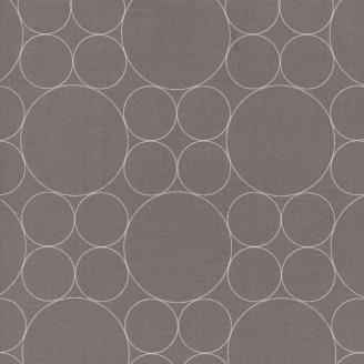 Tissu patchwork cercles blancs fond taupe - Thrive de Moda