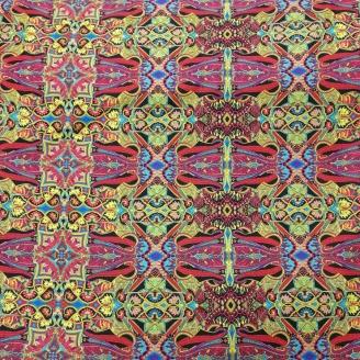Tissu patchwork tapisserie kaléidoscope vert et rouge - Wonderlust