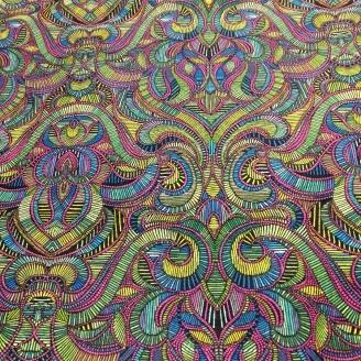 Tissu patchwork bonnes vibrations vertes, bleues et violettes - Wonderlust