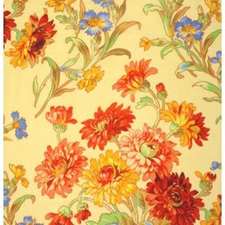 Tissu Philip Jacobs - Fleurs Anne-Marie fond jaune