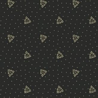 Tissu patchwork fleurs triangulaires fond noir
