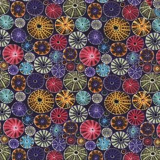 Tissu aborigène oursins fond violet