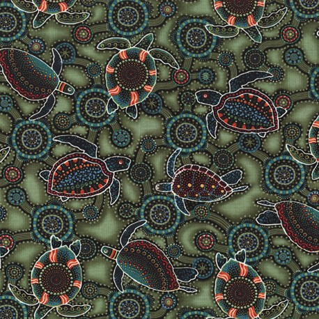 Tissu aborigène tortues marines fond vert
