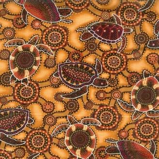 Tissu aborigène tortues marines fond ocre