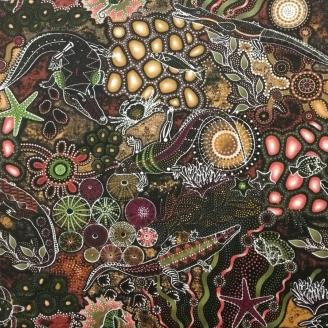 Tissu aborigène fonds marins brun-prune