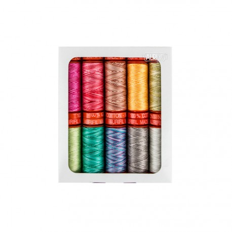 Assortiment de 10 Fils Aurifil Mako 50 - Premium collection de Tula Pink